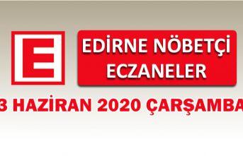 Edirne Nöbetçi Eczaneler 3 Haziran 2020 Çarşamba