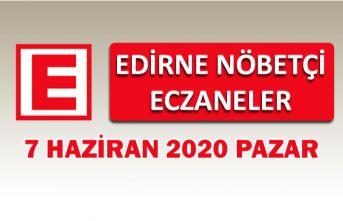 Edirne Nöbetçi Eczaneler 7 Haziran Pazar