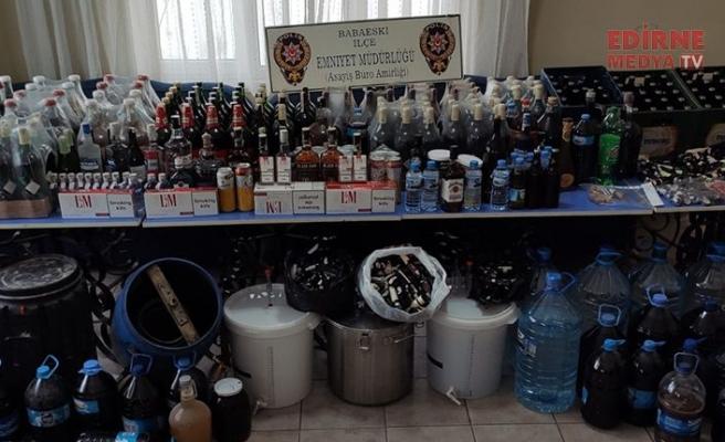 Yüzlerce litre sahte içki!