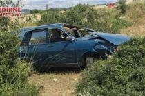 Kontrolden çıkan otomobil devrildi