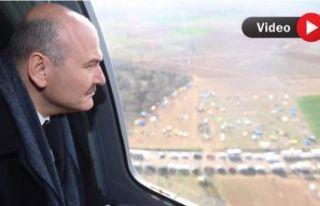 Bakan Soylu sınırı havadan inceledi