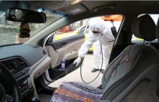 Taksi durakları dezenfekte ediliyor
