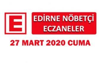 Edirne Nöbetçi Eczaneler 27 Mart 2020 Cuma